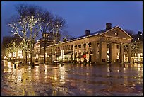 Lights and reflections at night, Quincy Market. Boston, Massachussets, USA (color)