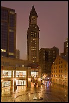 Custom House Tower and  Faneuil Hall marketplace at night. Boston, Massachussets, USA (color)