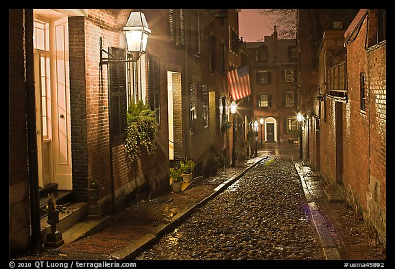 Picturesque cobblestone street on rainy night, Beacon Hill. Boston, Massachussets, USA (color)