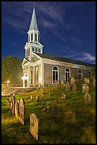 Cemetery and church at night, Concord. Massachussets, USA ( color)