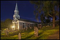 Holly Family church and graveyard at night, Concord. Massachussets, USA ( color)