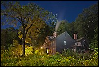 Orchard House at night with smoking chimney, Concord. Massachussets, USA ( color)