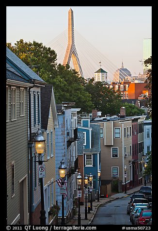 Steep stret on Breeds Hill, with bridge in background, Charlestown. Boston, Massachussets, USA (color)