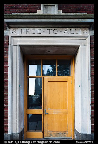 Bunker Hill library door, lintel inscribed free to all, Charlestown. Boston, Massachussets, USA (color)