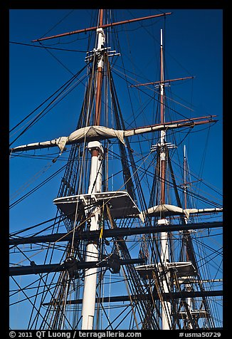 Masts of USS Constitution. Boston, Massachussets, USA (color)