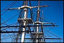 Masts of frigate USS Constitution. Boston, Massachussets, USA ( color)