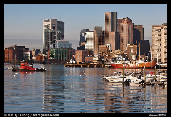 Boston harbor and skyline. Boston, Massachussets, USA (color)