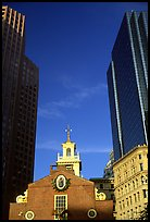 Old State House and Financial District skyscrapers. Boston, Massachussets, USA (color)