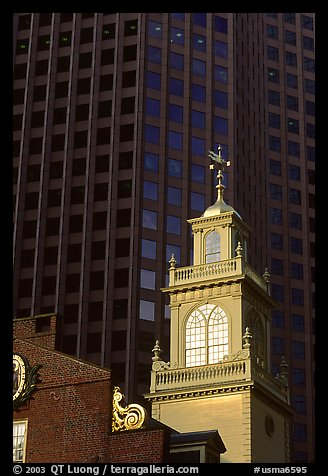 Old State House and glass buildings. Boston, Massachussets, USA (color)