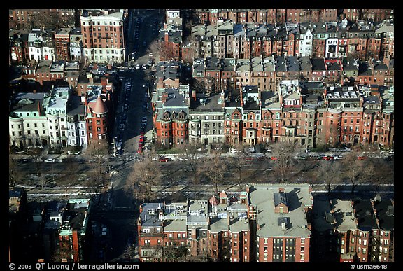 Brick houses seen from the Prudential Tower. Boston, Massachussets, USA (color)