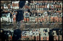 Brick houses seen from the Prudential Tower. Boston, Massachussets, USA