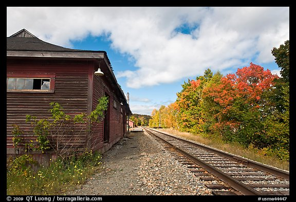 Railroad track and abandonned station, Greenville Junction. Maine, USA (color)