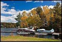 Floatplanes and fall foliage on Moosehead Lake, Greenville. Maine, USA ( color)