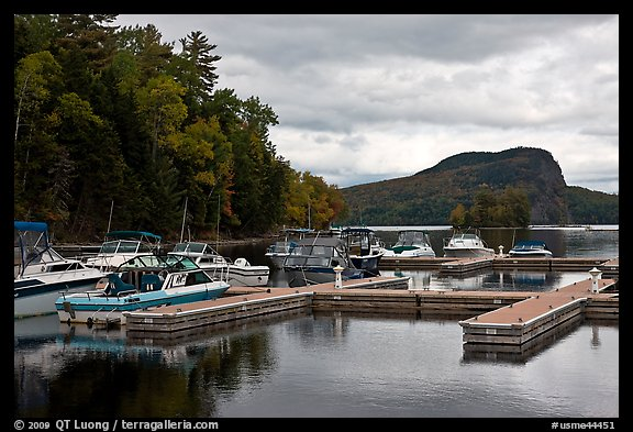 Marina along Moose River, Rockwood. Maine, USA