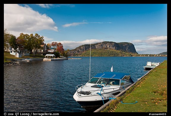 Moosehead Lake marina and  Mount Kineo. Maine, USA (color)