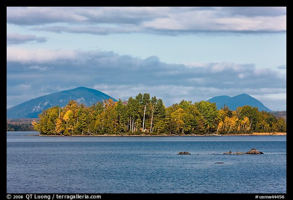 Deer Island on Moosehead Lake, afternoon. Maine, USA (color)