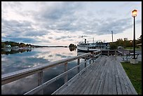 Marina with Katahdin steamer at sunset, Greenville. Maine, USA ( color)
