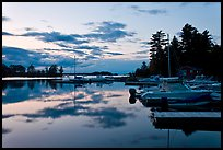 Beaver Cove Marina and Moosehead Lake at dusk, Greenville. Maine, USA ( color)
