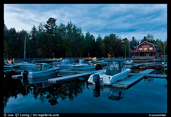 Boats in Beaver Cove Marina at dusk, Greenville. Maine, USA (color)