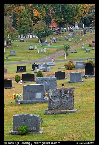Headstones, Cemetery, Greenville. Maine, USA (color)