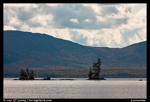 Islets with conifers, Moosehead Lake, Lily Bay State Park. Maine, USA (color)