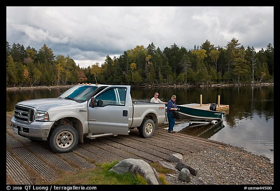 Boat loaded at ramp, Lily Bay State Park. Maine, USA (color)