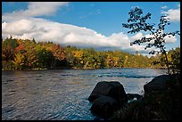 Penobscot River, boulders, and trees in fall. Maine, USA