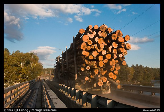 Truck carrying logs, Abol bridge. Maine, USA (color)