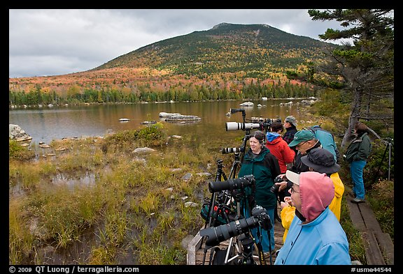 Photographers waiting for moose, Sandy Stream Pond. Baxter State Park, Maine, USA (color)