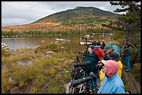 Photographers waiting for moose, Sandy Stream Pond. Baxter State Park, Maine, USA ( color)