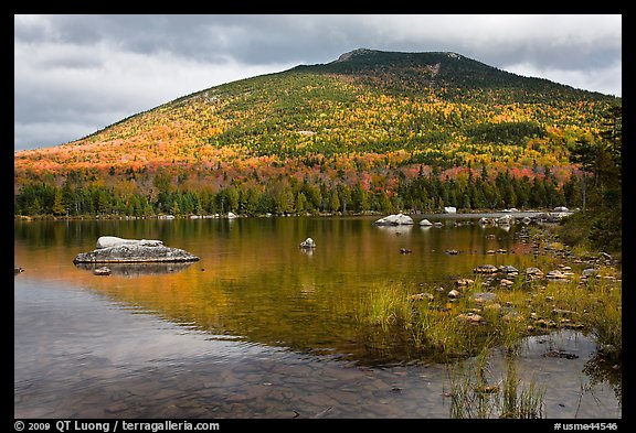 South Turner Mountain reflected in Sandy Stream Pond in autumn. Baxter State Park, Maine, USA (color)