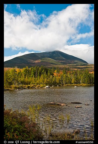 Clouds, mountain, and pond in autumn. Baxter State Park, Maine, USA (color)