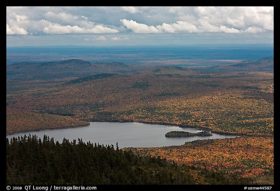Katahdin Lake in the distance. Baxter State Park, Maine, USA (color)