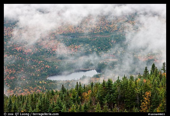 Clouds lifting above fall landscape. Baxter State Park, Maine, USA (color)