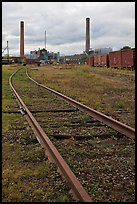 Railroad tracks and smokestacks, Millinocket. Maine, USA ( color)