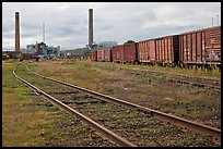 Railroad and mill, Millinocket. Maine, USA (color)