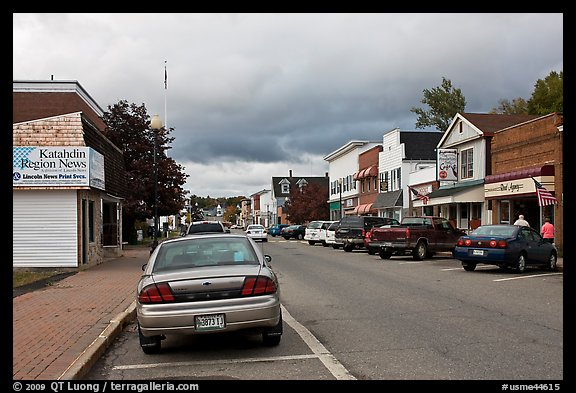 Street and stores, Millinocket. Maine, USA (color)