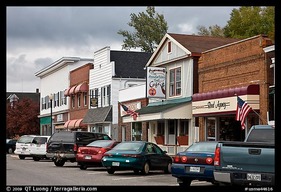 Businesses on main street, Millinocket. Maine, USA (color)
