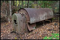 Steam engine remnant in forest. Allagash Wilderness Waterway, Maine, USA ( color)
