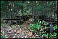 Remnants of abandonned railway equipement. Allagash Wilderness Waterway, Maine, USA ( color)