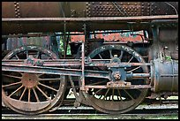 Wheels and pistons of vintage locomotive. Allagash Wilderness Waterway, Maine, USA ( color)