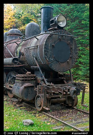 Nose of rusting steam locomotive. Allagash Wilderness Waterway, Maine, USA (color)