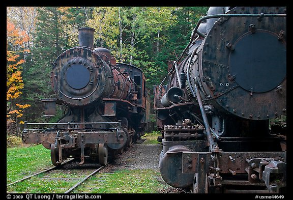 Eagle Lake and West Branch railroad locomotives. Allagash Wilderness Waterway, Maine, USA (color)
