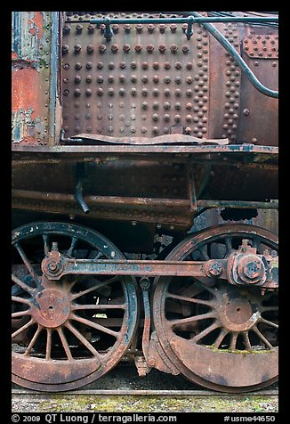 Close-up of rusting locomotive. Allagash Wilderness Waterway, Maine, USA (color)