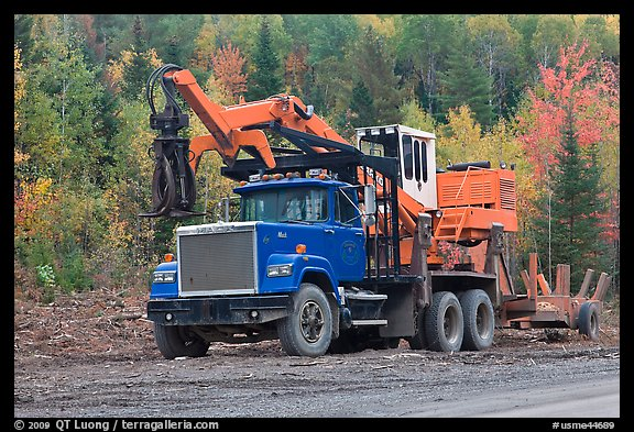 Forestry truck at logging site. Maine, USA (color)