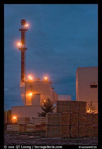 Lumber mill at dusk, Ashland. Maine, USA (color)