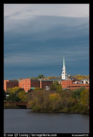 White steepled church and brick buildings. Bangor, Maine, USA (color)