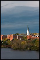 White steepled church and brick buildings. Bangor, Maine, USA ( color)