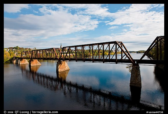 Railroad bridge over Penobscot River. Bangor, Maine, USA (color)