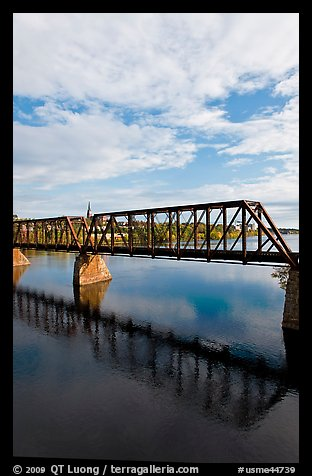 Railway bridge crossing Penobscot River. Bangor, Maine, USA (color)